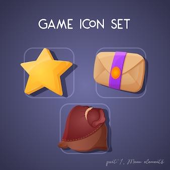 Zestaw ikon gry w stylu kreskówki. elementy menu: gwiazda, litera i saszetka. jasny design dla interfejsu użytkownika aplikacji