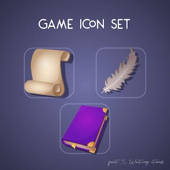 Zestaw ikon gry w stylu kreskówki. pisanie przedmiotów: przewiń, książki i pióro. jasny design dla interfejsu użytkownika aplikacji.