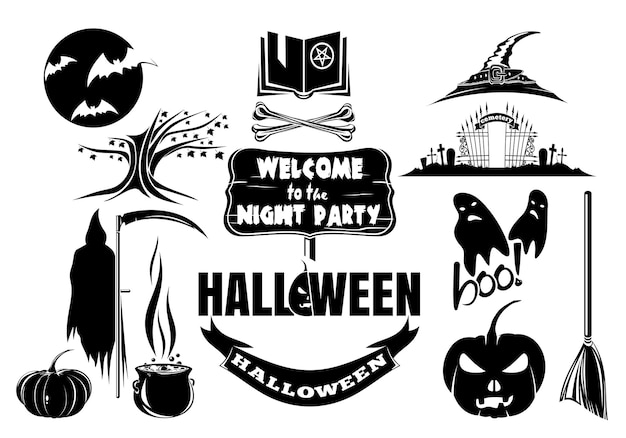 Zestaw ikon halloween czarno-białe. cukierek albo psikus. halloweenowe sylwetki. ilustracja wektorowa na białym tle