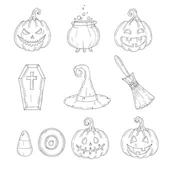 Zestaw ikon halloween dyni jacka, kapelusz czarownicy, miotła, kapelusz, słodycze, kukurydza cukrowa, trumna, garnek z miksturą
