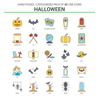 Zestaw ikon halloween flat line
