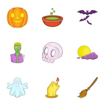 Zestaw ikon halloween, stylu cartoon