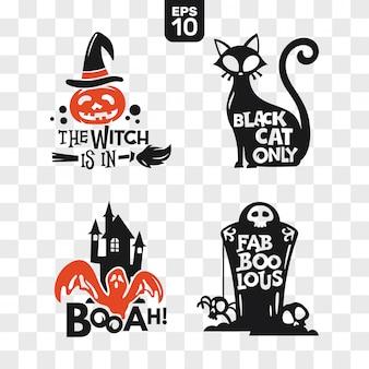 Zestaw ikon halloween sylwetki z cytatem do dekoracji partii i cięcia naklejki