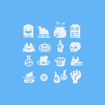Zestaw ikon halloween sztuki pikseli. 8 bitów.