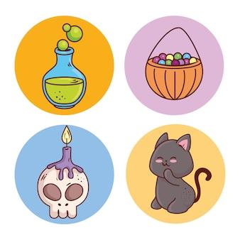 Zestaw ikon happy halloween na okrągłej ramie