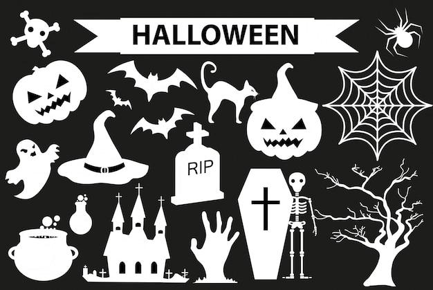 Zestaw ikon happy halloween, styl czarna sylwetka. na białym tle. kolekcja halloween elementów z dyni, pająka, zombie, czaszki, trumny, nietoperza. ilustracja.