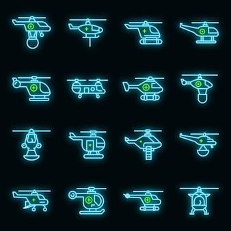 Zestaw ikon helikoptera ratunkowego. zarys zestaw ikon wektorowych ratowniczych helikopterów w kolorze neonowym na czarno