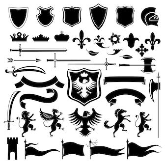 Zestaw ikon heraldycznych czarny