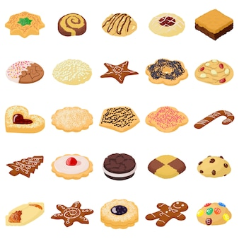 Zestaw ikon herbatniki ciasteczka. izometryczna ilustracja 25 ciastek herbacianych wektorowych ikon dla sieci