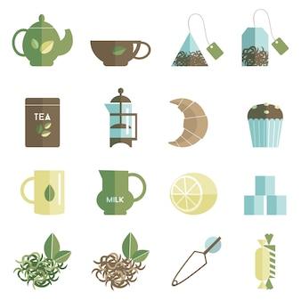 Zestaw ikon herbaty czas płaski
