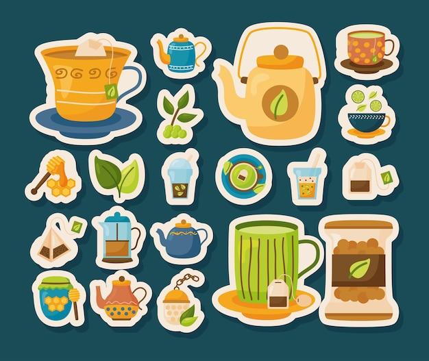 Zestaw ikon herbaty naklejek, czas pić śniadanie i ilustracja motywu napojów