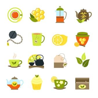 Zestaw ikon herbaty