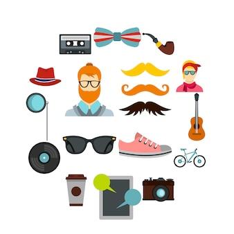 Zestaw ikon hipster, płaski