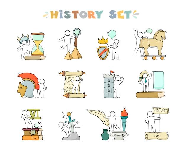 Zestaw ikon historii z studiowaniem małych ludzi.