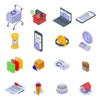 Zestaw ikon historii zakupów. izometryczny zestaw ikon historii zakupów do projektowania stron internetowych na białym tle
