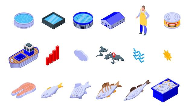 Zestaw ikon hodowli ryb, izometryczny styl