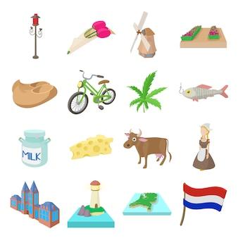 Zestaw ikon holandii w stylu cartoon wektor
