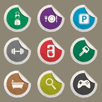 Zestaw ikon hotelowych dla stron internetowych i interfejsu użytkownika