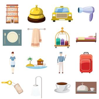 Zestaw ikon hotelowych, stylu cartoon