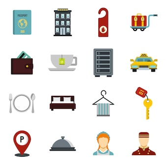 Zestaw ikon hotelowych.