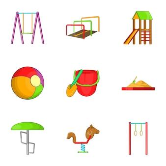 Zestaw ikon huśtawka dla dzieci, stylu cartoon