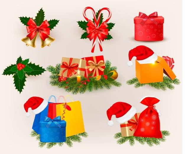 Zestaw ikon i elementów świątecznych.