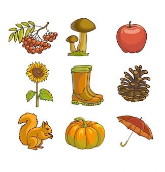 Zestaw ikon i przedmiotów jesieni lub jesieni