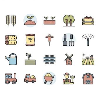 Zestaw ikon i symboli rolnictwa i rolnictwa