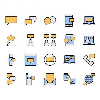 Zestaw ikon i symboli związanych z bańki wiadomości i mowy