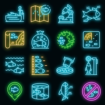 Zestaw ikon ichtiologii. zarys zestaw ikon wektorowych ichtiologii w kolorze neonowym na czarno