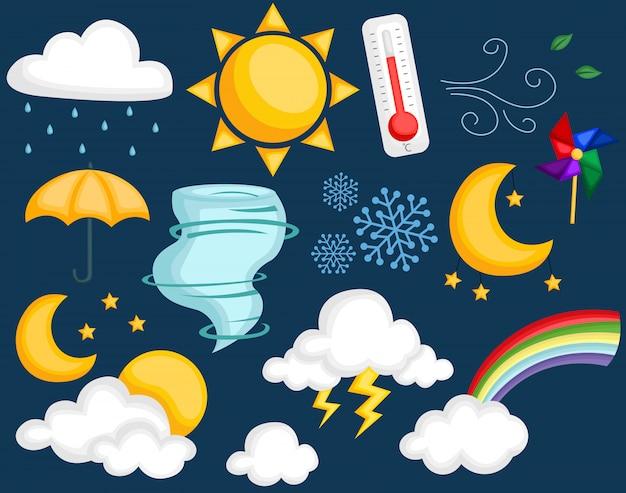 Zestaw ikon ikony pogody