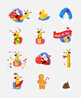 Zestaw ikon, ilustracje na nowy rok, Boże Narodzenie. Wektor.