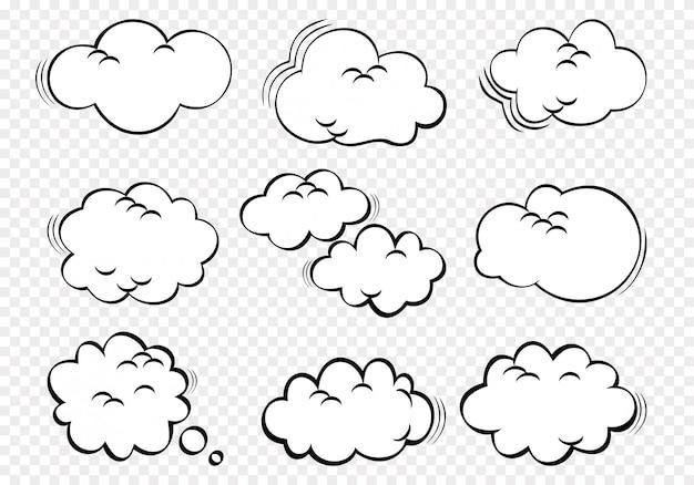 Zestaw ikon ilustracji chmur