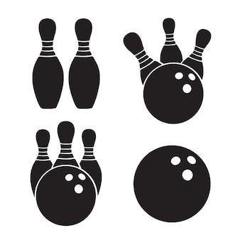 Zestaw ikon ilustracji wektorowych sylwetki kul do kręgli i szpilek szablony sprzętu sportowego