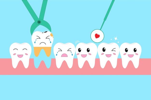 Zestaw ikon ilustracji zdrowe zęby i problem utraty zębów