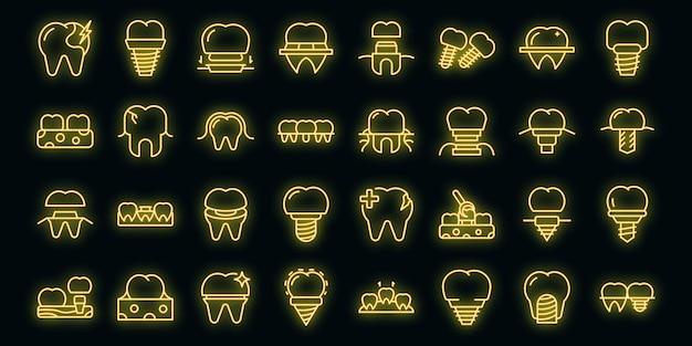 Zestaw ikon implantów dentystycznych wektor zarys. chirurgia szczęki. śruba lekarska