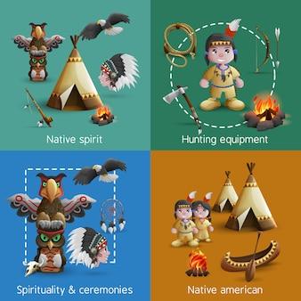 Zestaw ikon indian amerykańskich