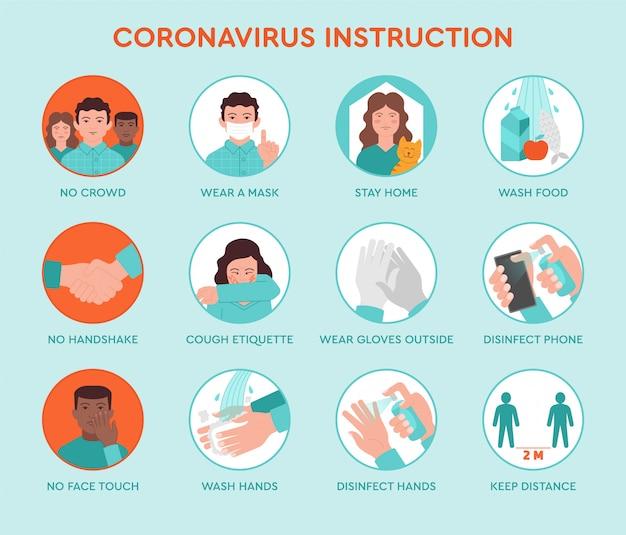 Zestaw ikon infografika porad dotyczących zapobiegania kwarantannie koronawirusa