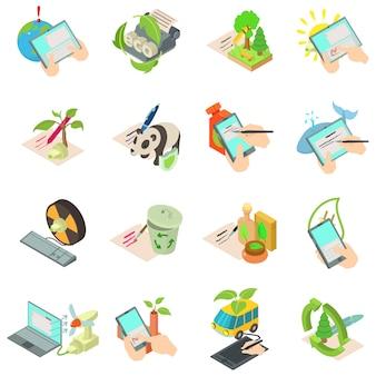 Zestaw ikon informacji ekologicznych, izometryczny styl