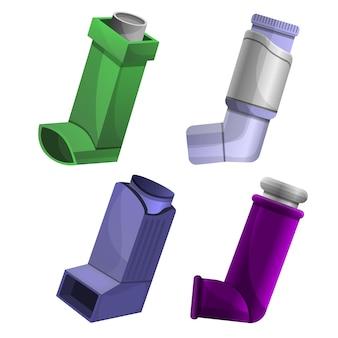 Zestaw ikon inhalatora, stylu cartoon