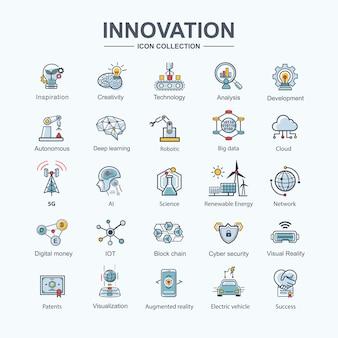 Zestaw ikon innowacji dla futurystycznej technologii, ev, sztucznej inteligencji, autonomicznej robotyki i sieci 5g.