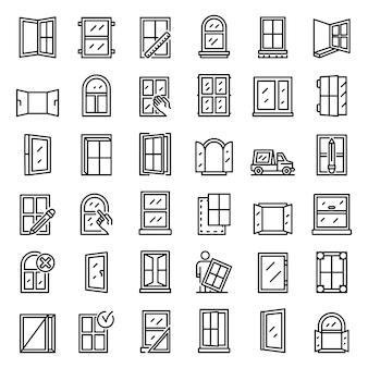 Zestaw ikon instalacji okna, styl konturu