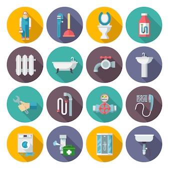 Zestaw ikon instalacji sanitarnych