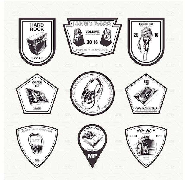 Zestaw ikon instrumentów muzycznych emblematów w kolorze czarnym.