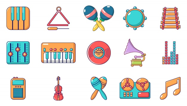 Zestaw ikon instrumentów muzycznych. kreskówka zestaw ikon wektorowych instrumentów muzycznych zestaw na białym tle