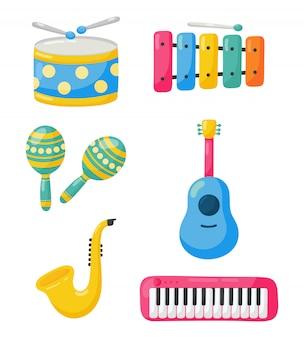 Zestaw ikon instrumentów muzycznych na białym tle