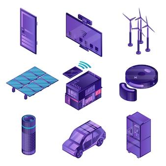 Zestaw ikon inteligentnego urządzenia. izometryczny zestaw ikon wektorowych inteligentnego urządzenia na projektowanie stron internetowych na białym tle