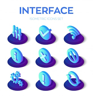 Zestaw ikon interfejsu. interfejs użytkownika izometryczne ikony 3d dla urządzeń mobilnych i internetu.