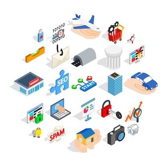 Zestaw ikon interfejsu sieci web, izometryczny styl