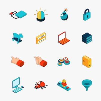 Zestaw ikon internetowych izometryczny 3d bezpieczeństwa. login i hasło, trojan i wirus oraz ostrzeżenie.